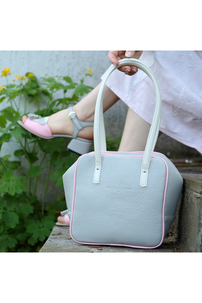 Buy Leather light gray square handbag, women casual shoulder bag