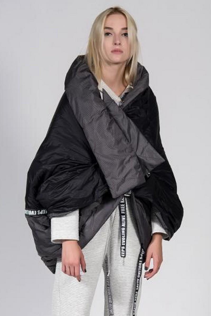Buy Black loose oversized down coat, grey stylish designer unique women warm jacket