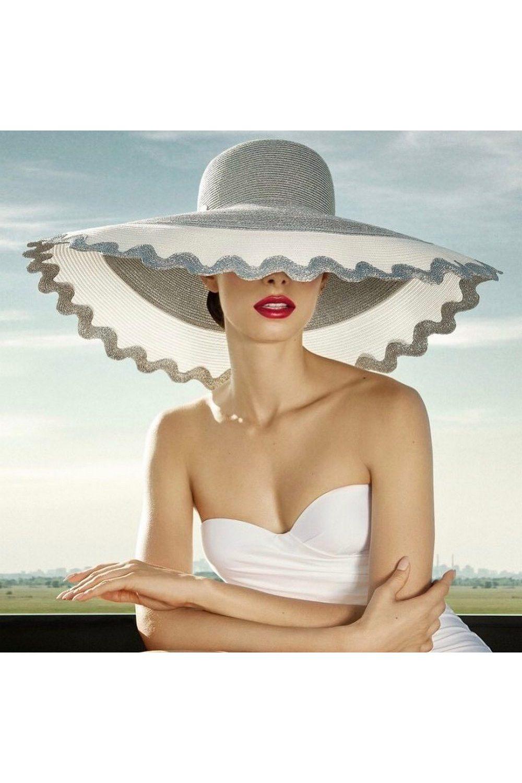 Buy Golden women`s stylish broad brim hat in retro style, Summer designer cap for ladies
