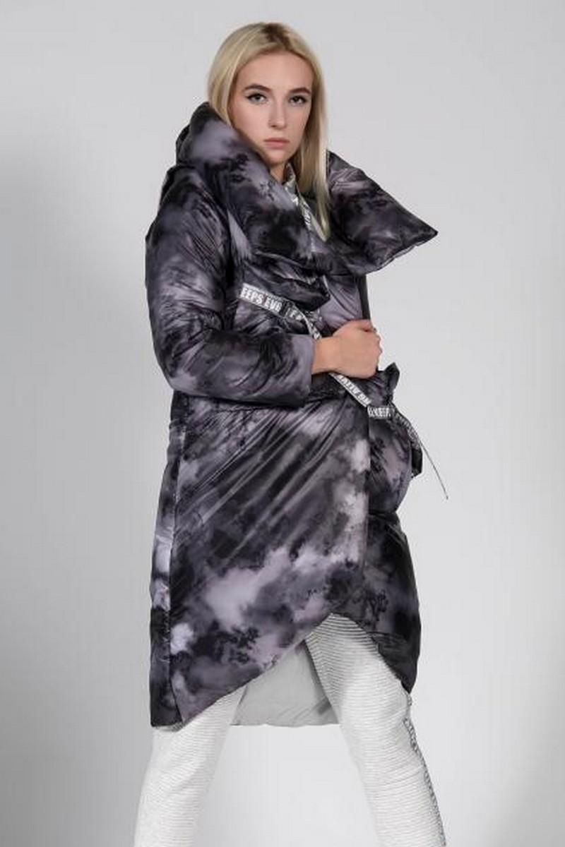 Buy High collar grey down jacket, stylish women puffed unique designer coat