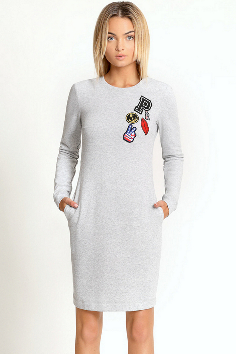 Buy Grey cotton casual long sleeve dress, crew neck straight every day party dress