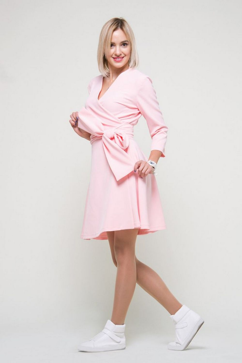 Buy Women`s pink dress, Long sleeve comfortable dress, V neck dress with pockets