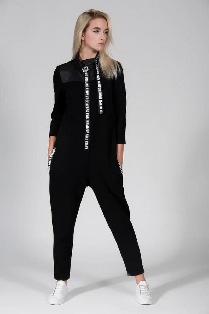 Buy Casual black gray cotton jumpsuit, stylish women unique party comfortable jumpsuit