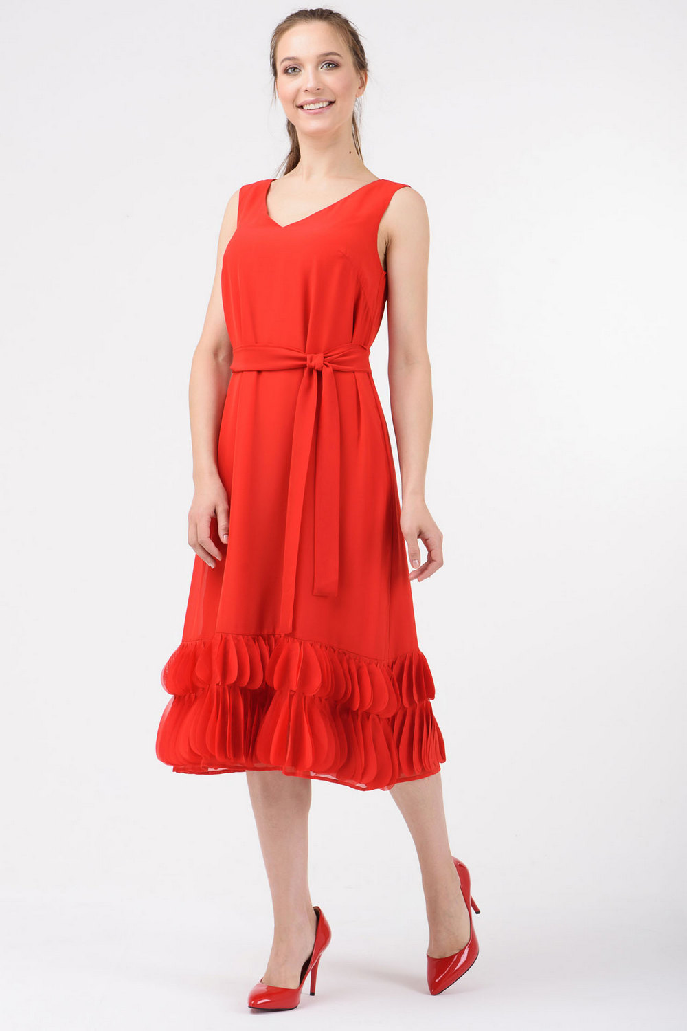 Buy Red women`s viscose V-neck sleeveless midi dress, Summer comfortable dress