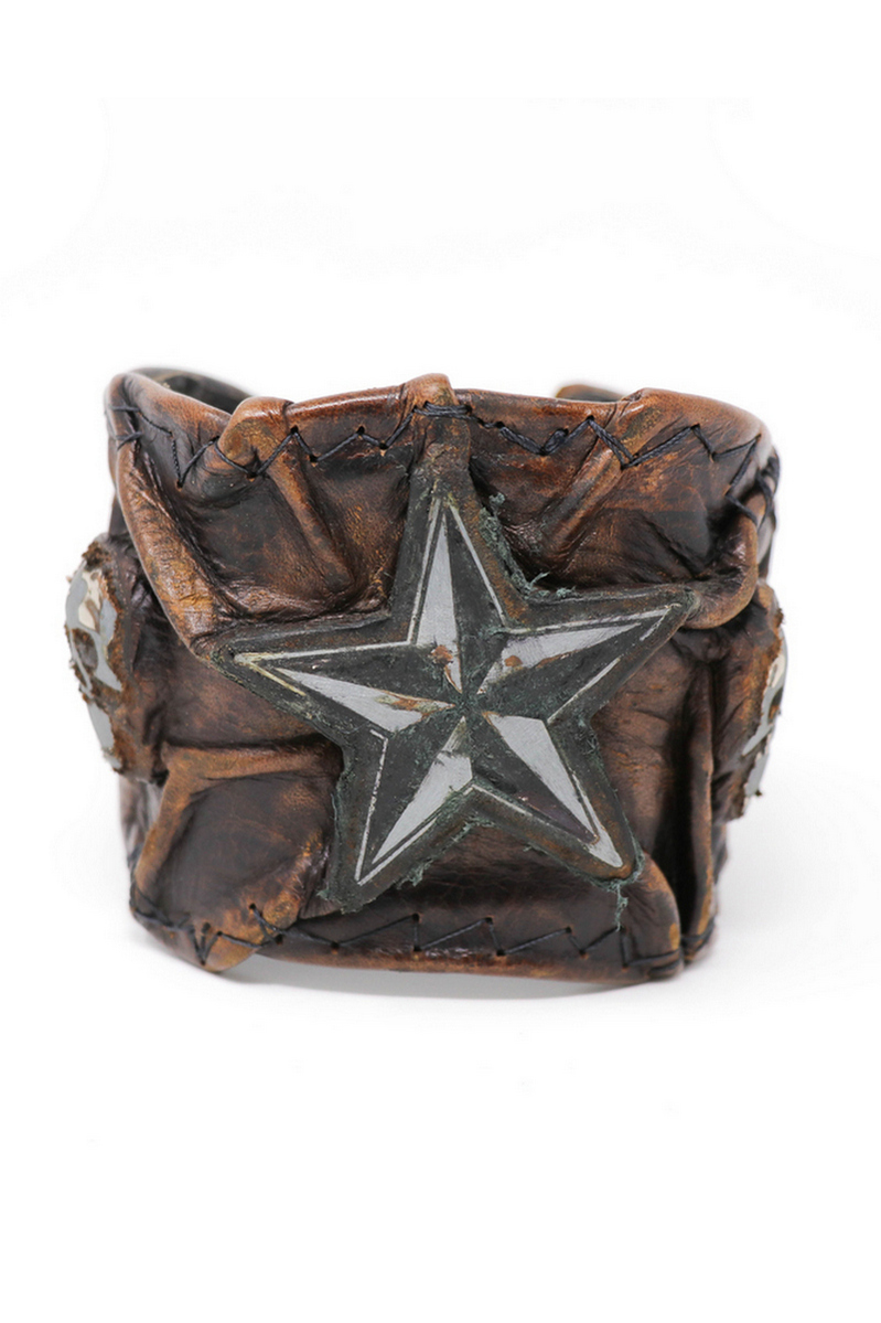 Buy Vintage Brown Skulled Leather Star Wristband, Rock bracelet, Stylish Leather accessories