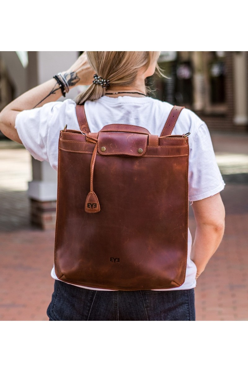 Buy Leather brown casual city backpack, Stylish unique exclusive transformer bag