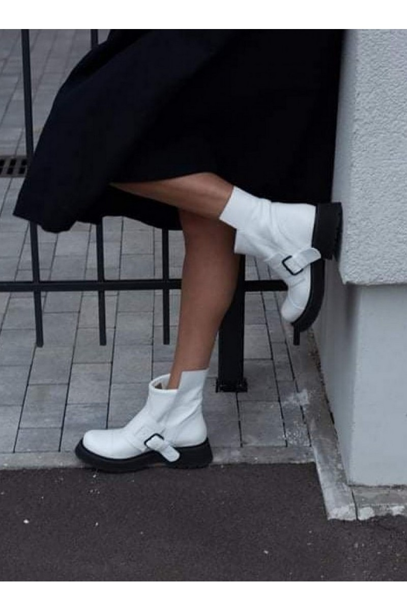 Buy White Women Fashion Leather Boots Buckle Moto Ankle Booties Handmade Designer Shoes