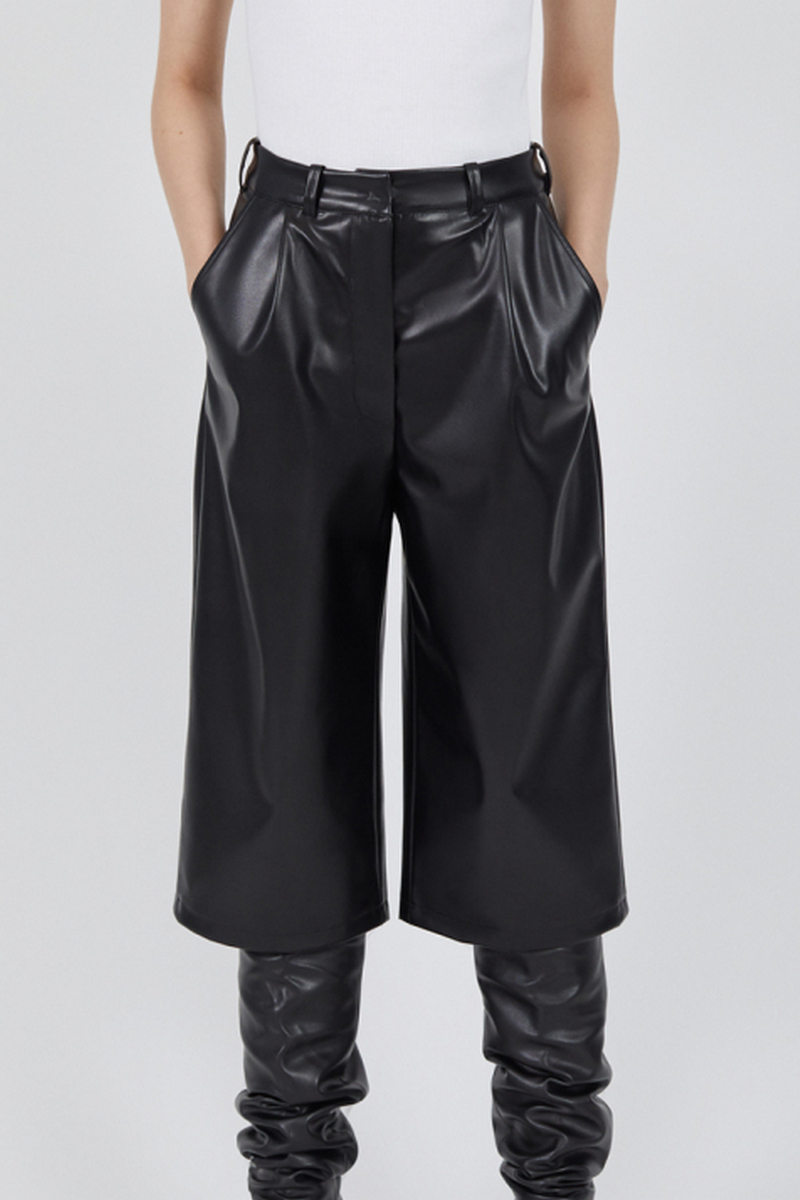 Buy Ecoleather Black Bermuda pants, oversized women casual party shorts