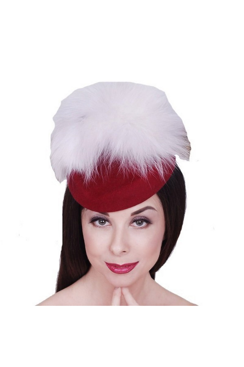 Buy Red felt fur arctic fox hat, women unique designer handmade hat