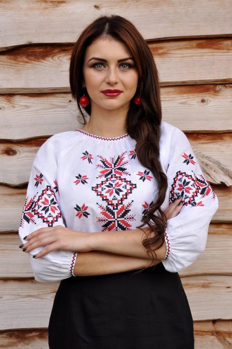 Buy Folk Ethnic National Ukrainian White Linen Comfortable Embroidered Vyshivanka Shirt