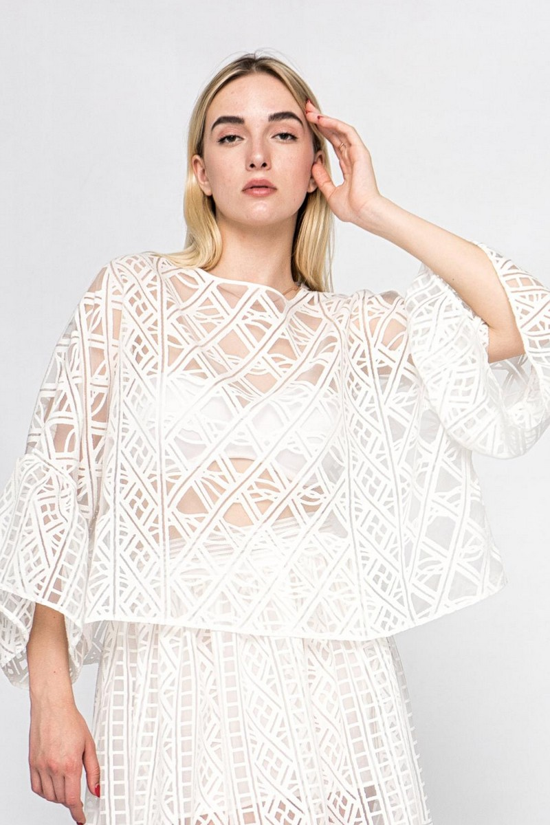 Buy Summer translucent loose white blouse, Сomfortable casual party wide sleeve ladies blouse