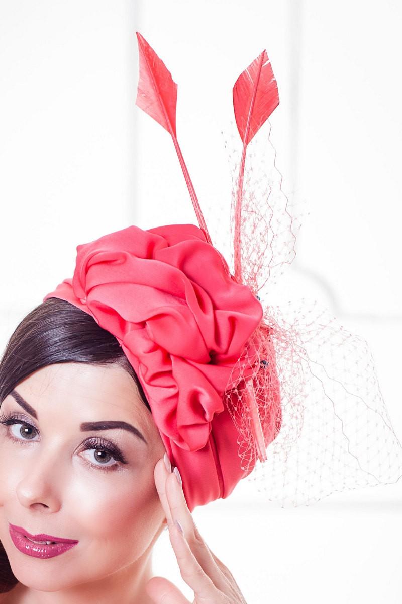 Buy Turban red silk feathers evening elegant designer party unique hat