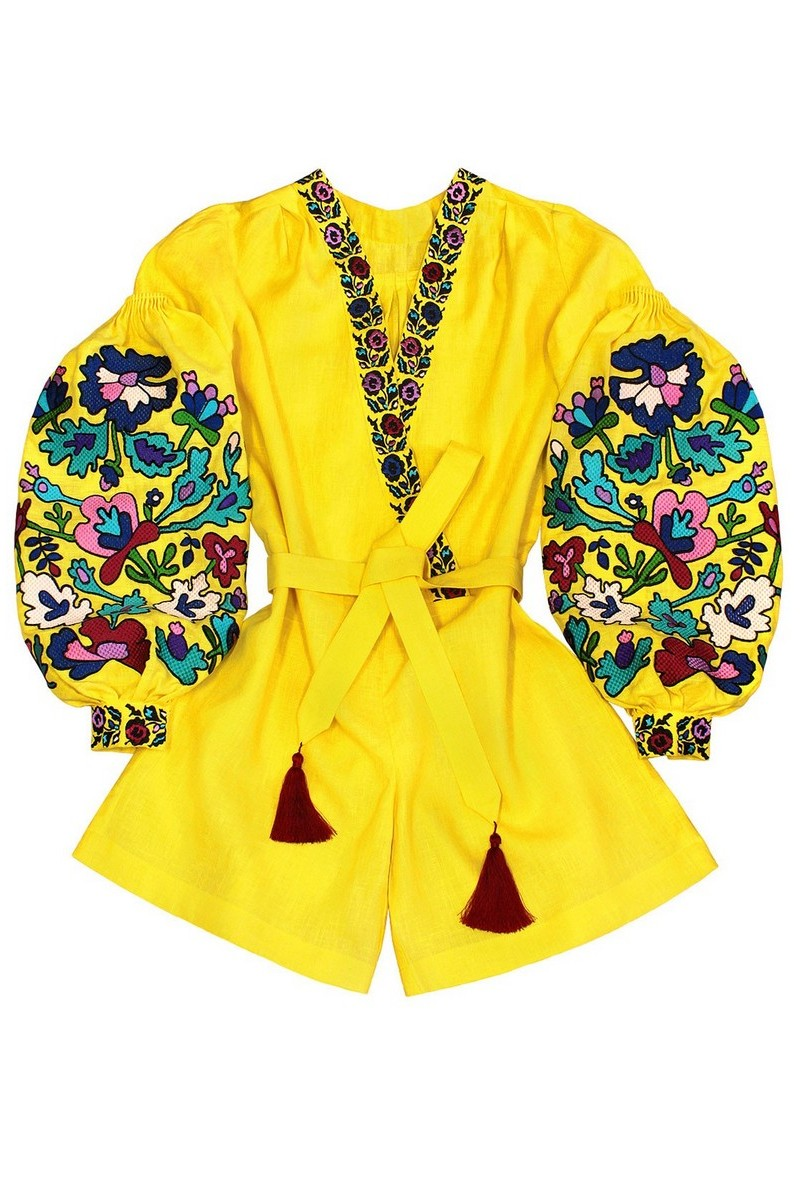 Buy Embroidered yellow linen Ukrainian vyshivanka jumpsuit, ethnic unique designer overalls