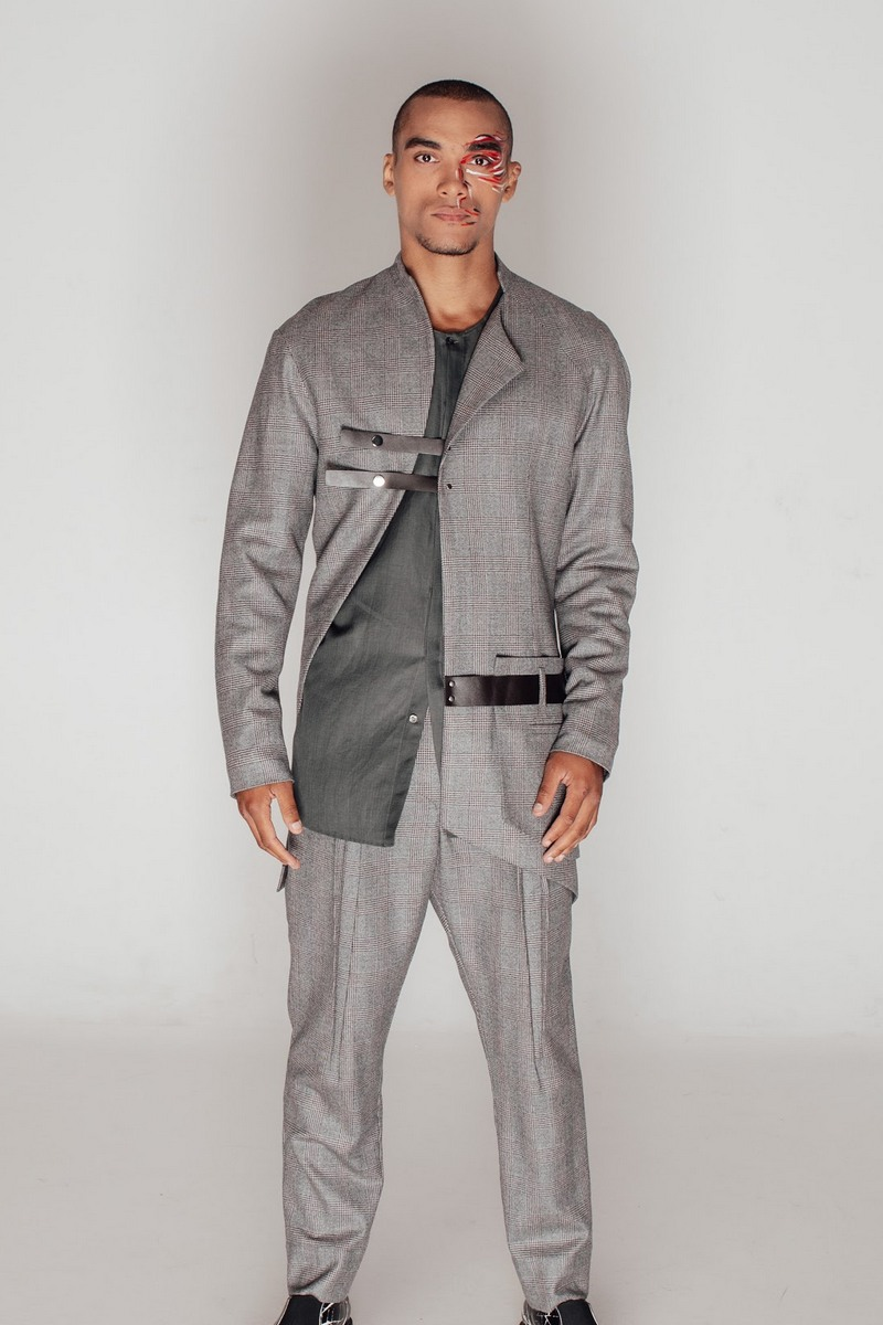 Buy Men's Fashion Fit Gray Plaid Wool Suit Jacket & Pants