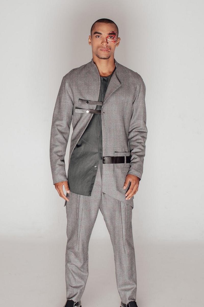 Buy Men's Fashion Fit Gray Plaid Wool Suit Jacket & Pants