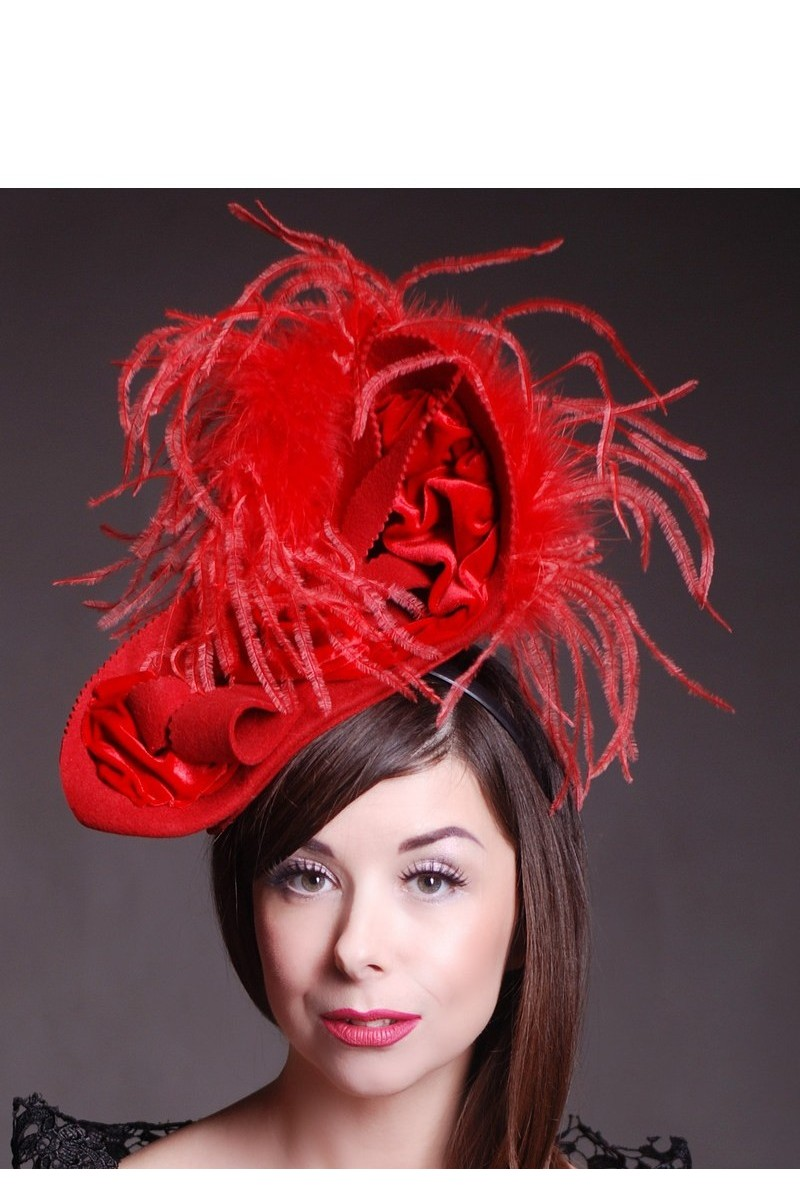 Buy Evening crassic retro red felt women`s feather hat, Stylish designer hat