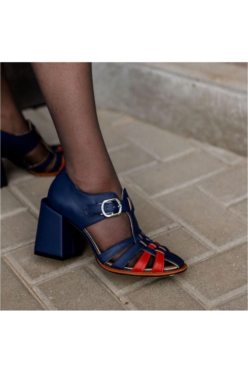 Buy Women leather heeled sandals retro vintage dressy fashion sandals