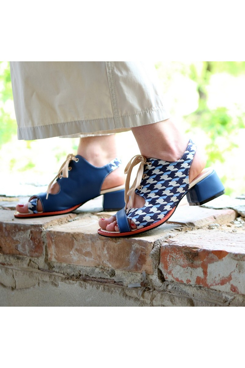 Buy Sandals shoelaces blue leather textile, heel stylish casual summer women comfortable shoes