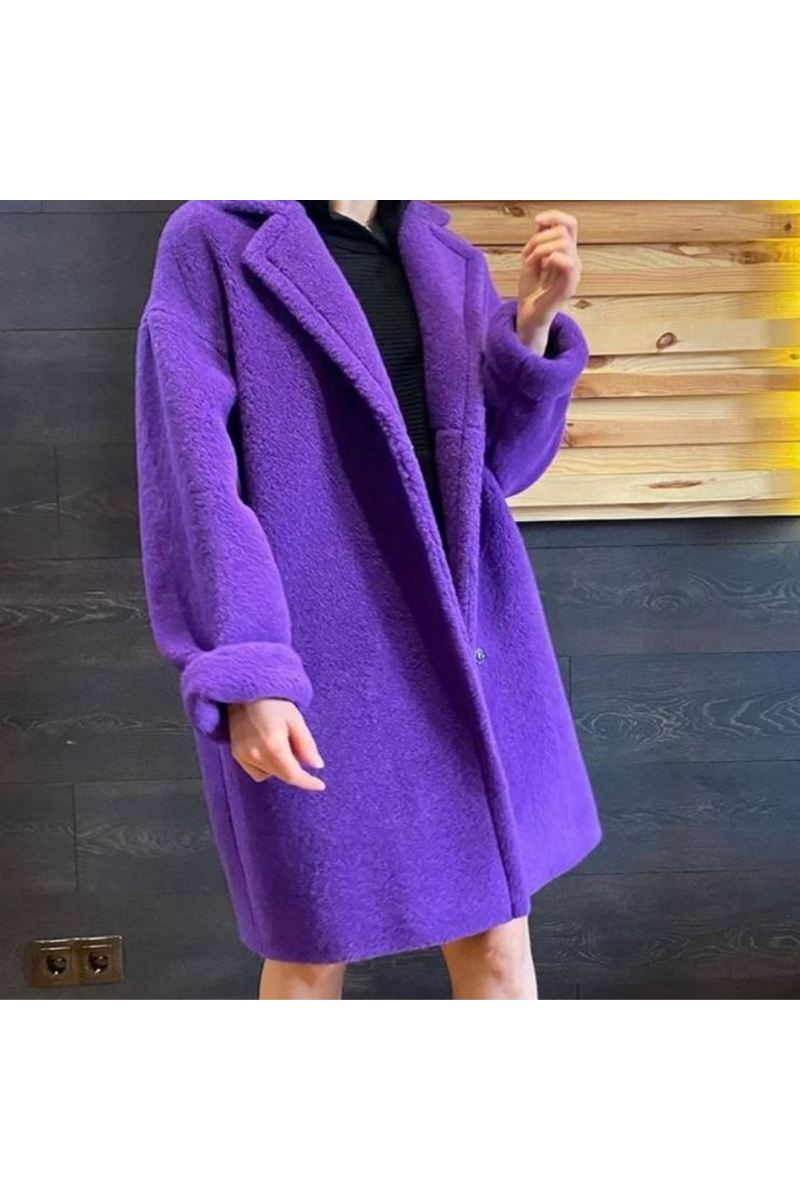 Buy Womens Purple Faux Fur Coat Short Wool Coat Winter Warm Coat Womens Faux Jacket