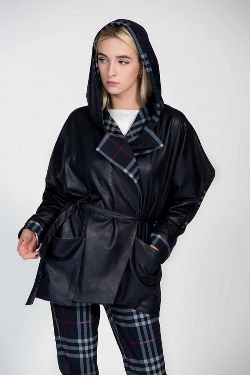 Buy Double Sided Black Plaid Hood Jacket, Women Stylish Designer Coat
