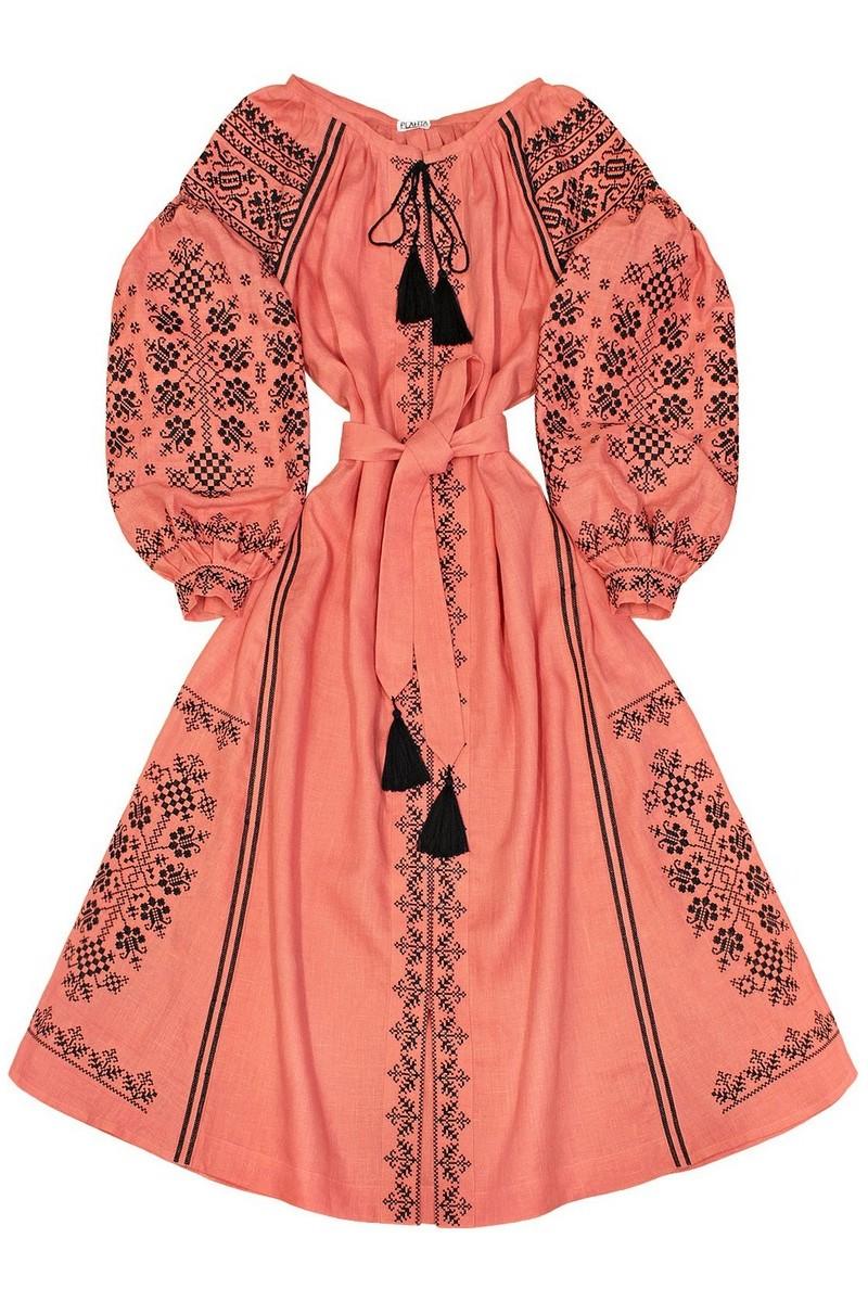 Buy Long embroidery pink women`s Ukrainian ethnic unique designer dress