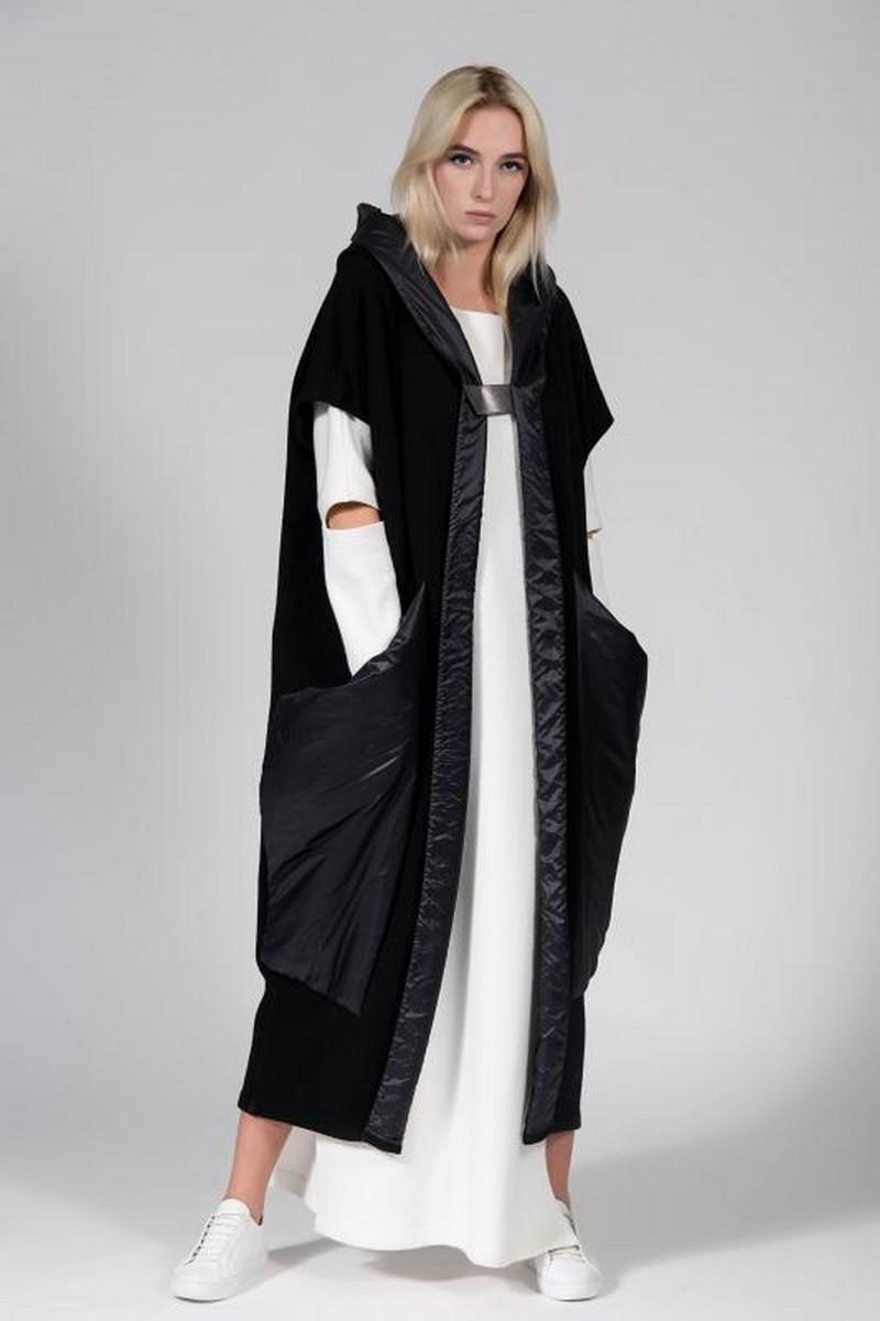 Buy Long black hooded oversized vest, stylish women comfortable loose vest