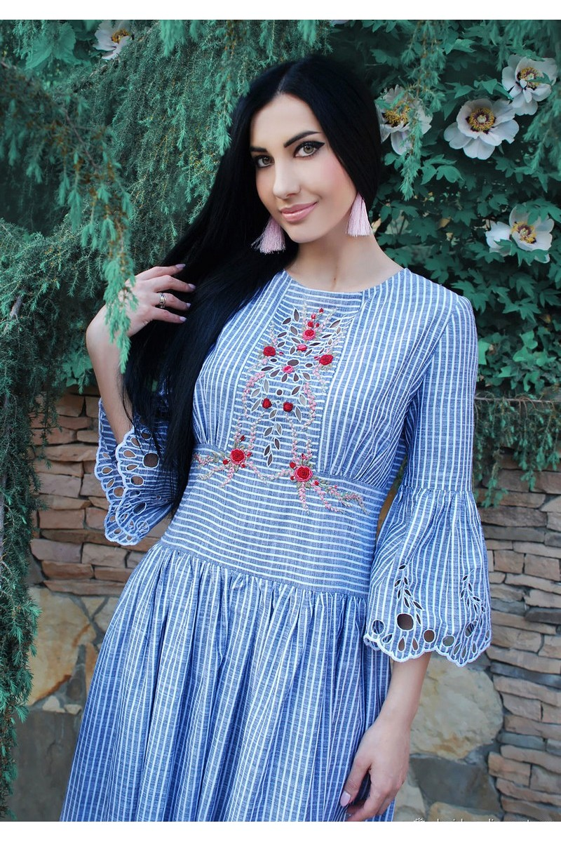 Buy Charming blue cotton striped embroidered casual dress, vyshivanka dress