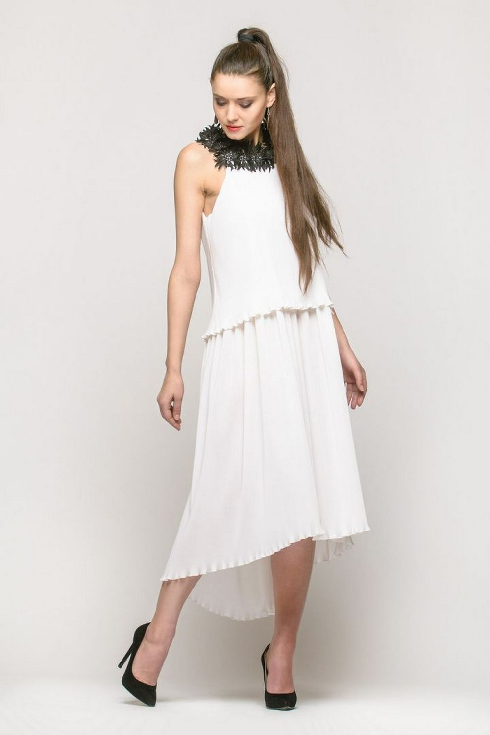 Buy Evening asymmetrical white cotton dress, Sleeveless dress with decor, Party elegant dress