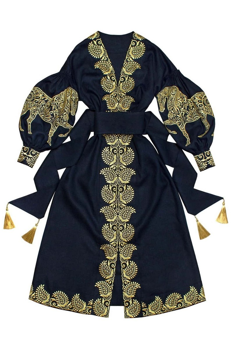 Buy Long Blue Vyshivanka linen Ukrainian ethnic unique designer dress