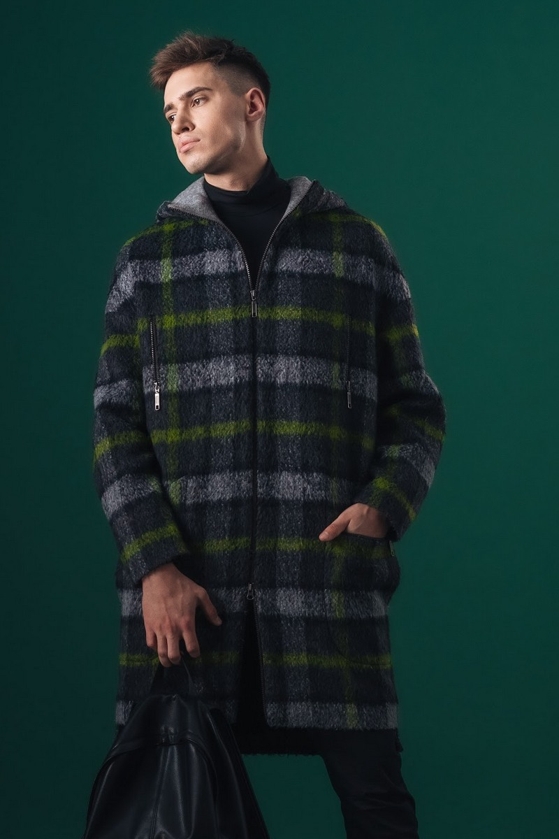 Buy Wool men`s oversized plaid long coat zipper pockets fall winter casual green with gray into cell