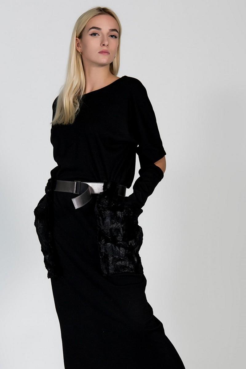 Black stylish woolen knit dress, comfortable long party casual women warm dress