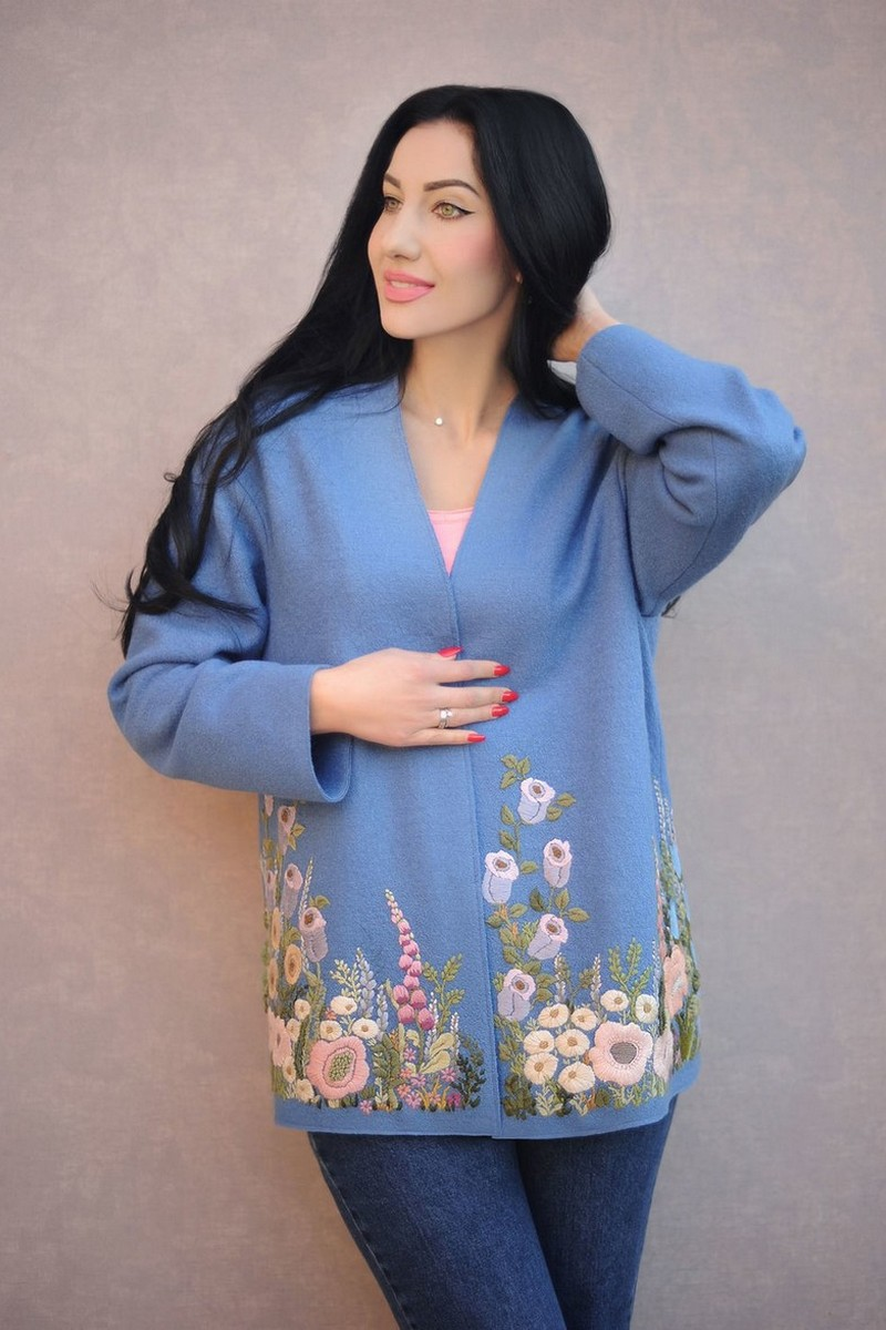 Buy Warm blue women`s wool floral embroidered unique designer jacket