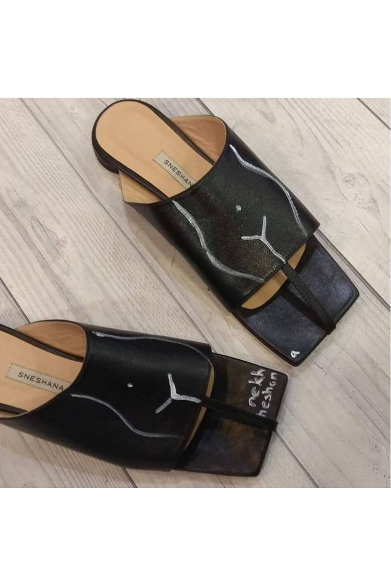Buy Black summer leather square toe slippers women casual comfy shoes