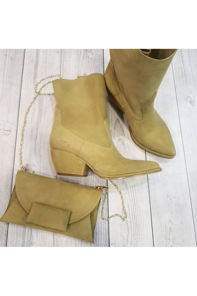 Buy Beige Modern Women's Learher Point Toe Cowboy Boots Western Mid Calf Boots