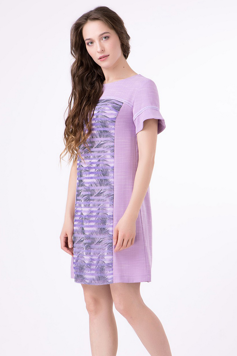 Buy Summer elegant lilac linen dress, Short sleeve loose comfortable casual dress