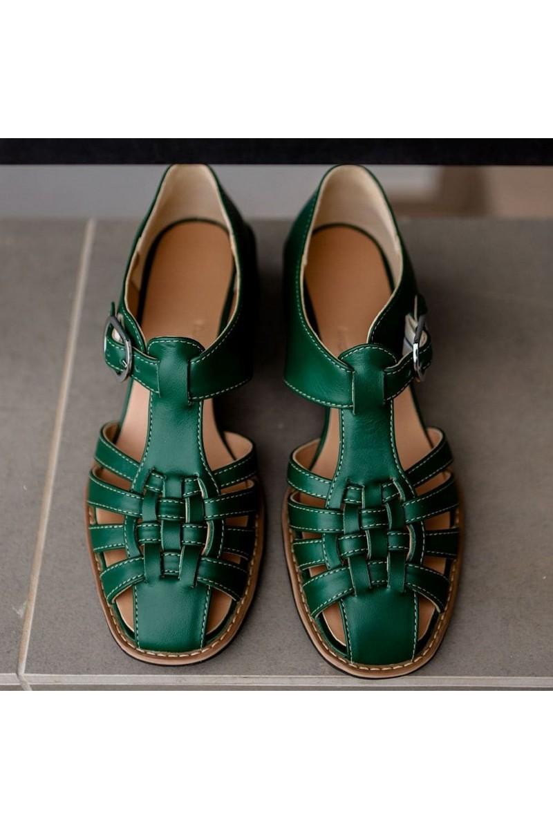 Buy Elegant Green Retro Women's Leather Braided Yarn Heel Sandals Cuddled Toe Closed Heel Shoes