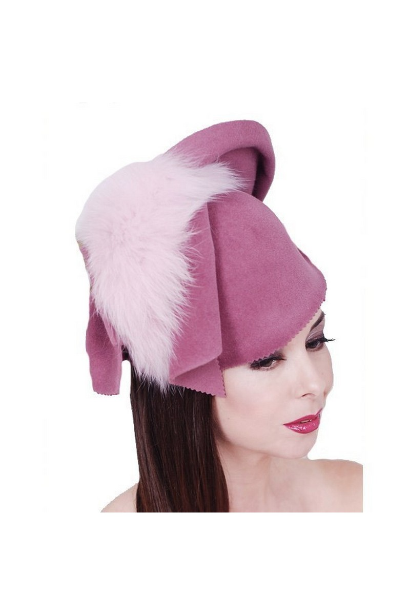 Buy Real fur arctic fox pink felt hat, designer unique stylish original hat