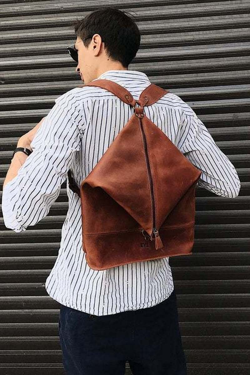 Buy City zipper leather designer backpack, comfortable stylish women men backpack