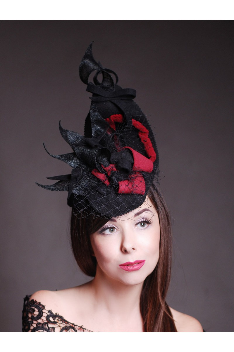 Buy Original women's designer black red evening hat, Felt straws veil unique hat