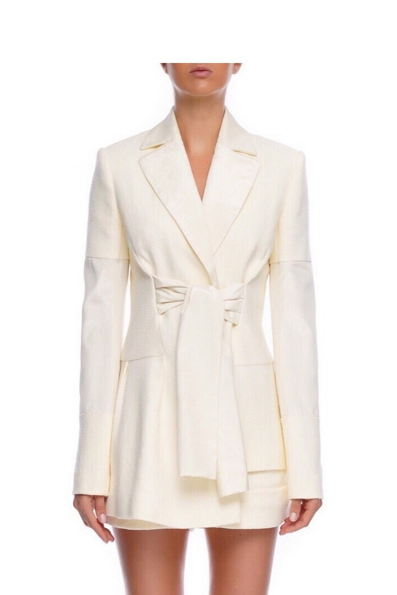 Buy White cotton long sleeve jacket, inserts on the sleeves wide tie belt women jacket