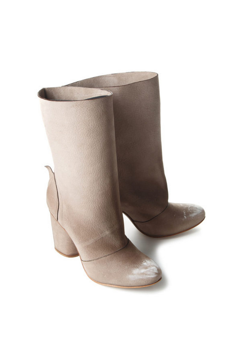Buy Designer beige women`s comfortable leather stylish high boots in vintage style, Unique original shoes