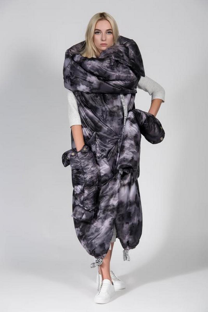 Buy Gray warm long transformer downjacket, women stylish midi exclusive coat