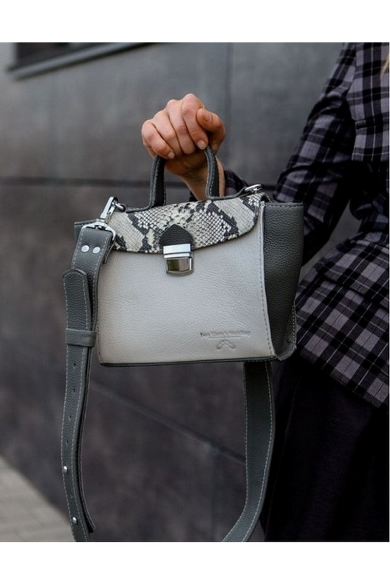 Buy Women Grey Leather Briefcase Bag with Comfortable Shoulder Strap