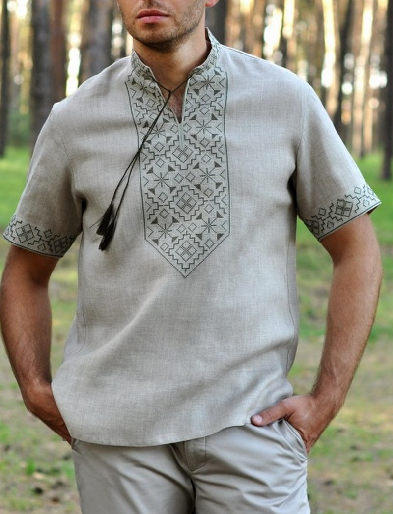 Buy Men's linen grey authentic shirt with embroidery, Summer Ukrainian Folk ethnic vyshivanka with short sleeves