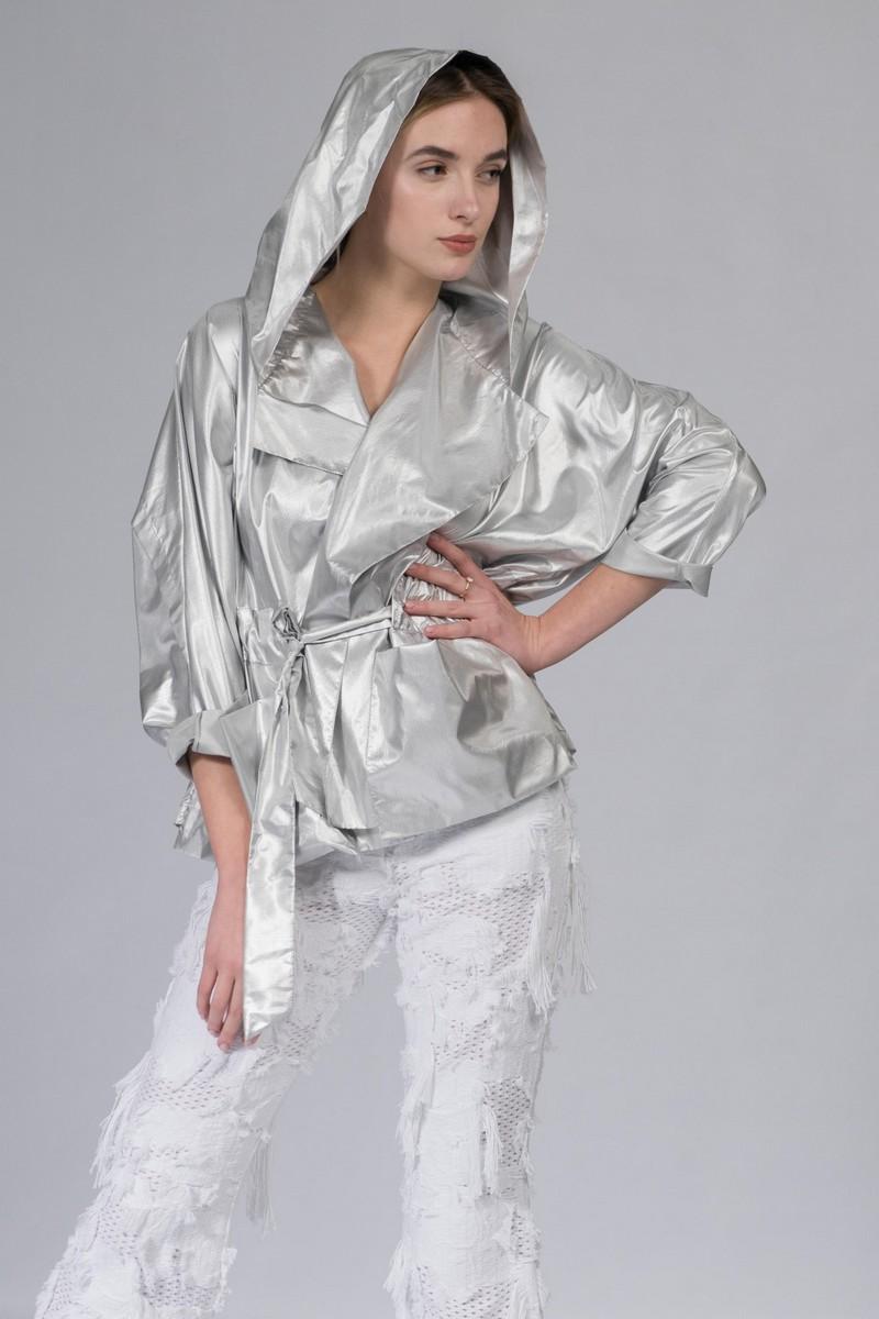 Buy Windbreaker women`s silver hooded coat, Сomfortable casual ladies stylish coat