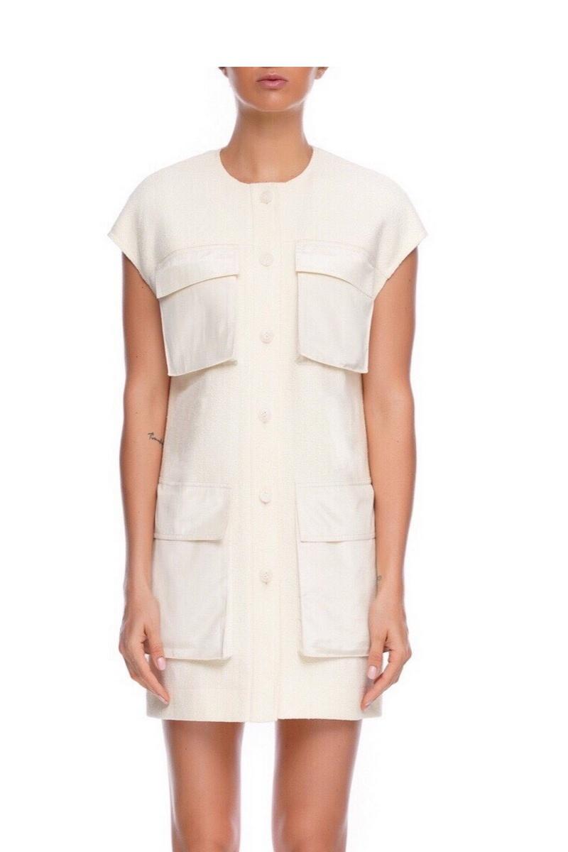 Buy Large patch pockets white vest, Women cotton straight short sleeve buttons vest
