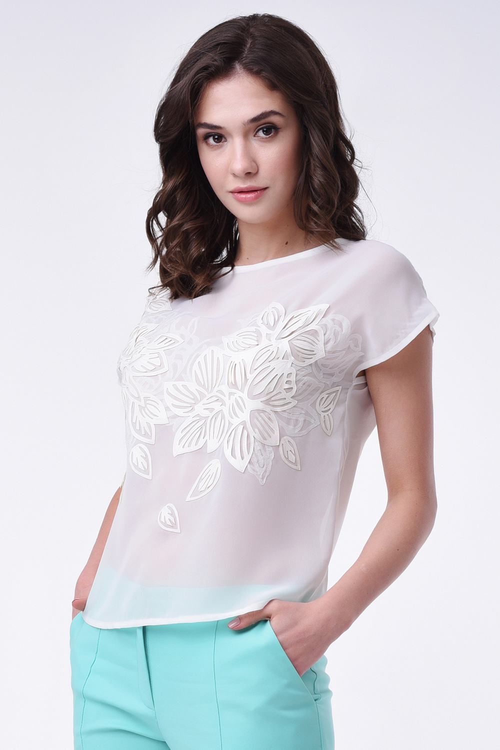 Buy White women`s transparent viscose blouse , Elegant short sleeve blouse with decor