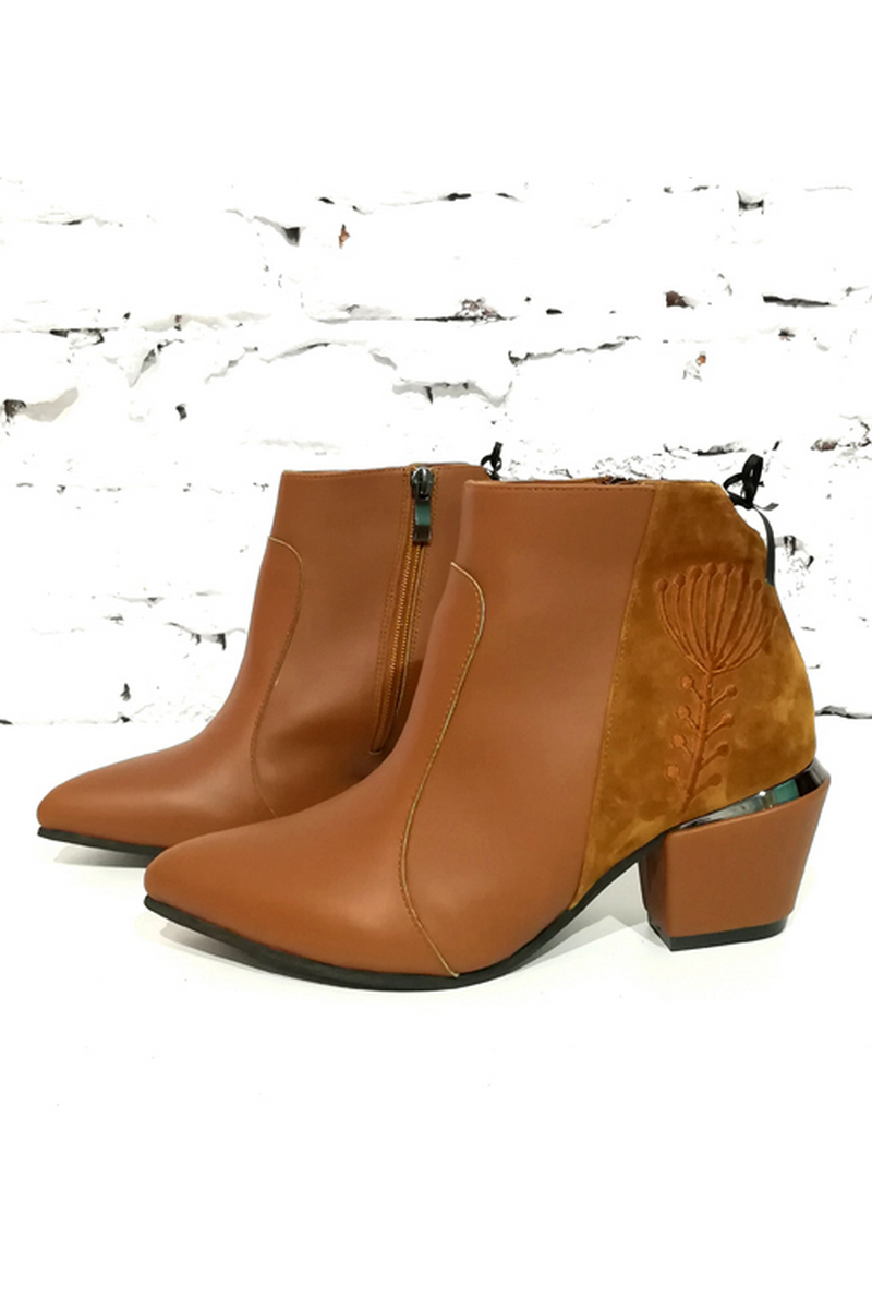 Buy Brown women's boots with ethno embroidery warmed, pointed toe heel