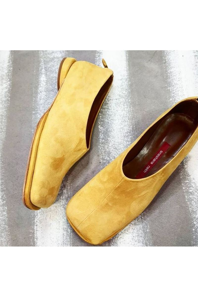 Buy Pumps woman fashion suede yellow square toe low heel comfy shoes