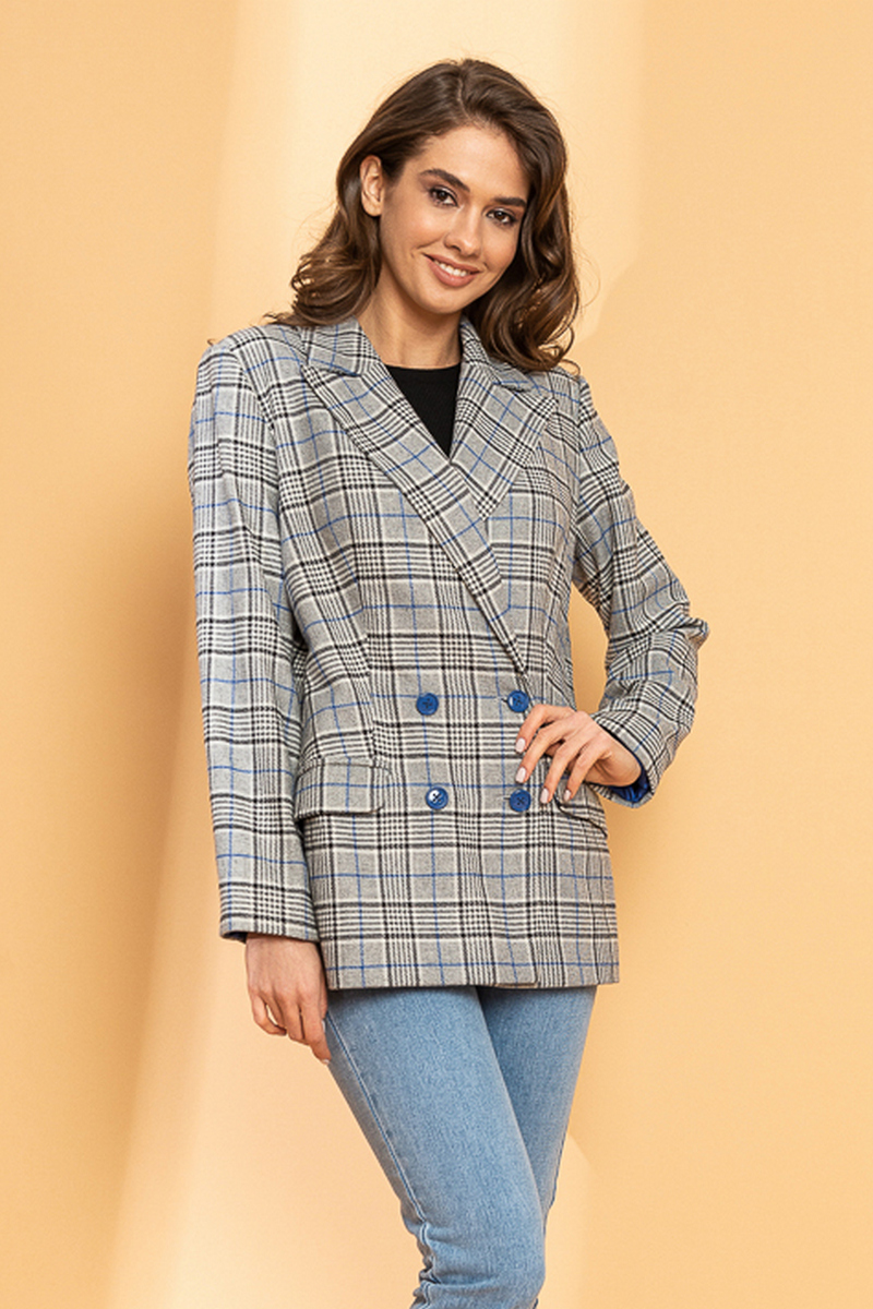 Buy Blazer For Women V Neck Double Breasted Button Grey Wool Plaid Business Office Lady Suit